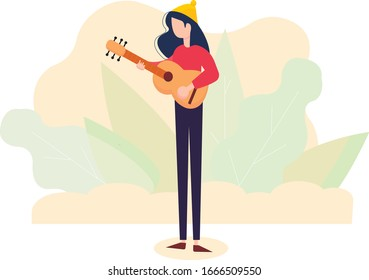 Illustration of a girl playing an acoustic guitar. Vector. Flat flat style. Music lessons. Education and study. Hobby