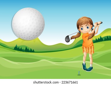Illustration of a girl playing golf in the court