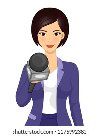 Illustration of a Girl Reporter Journalist Holding a Microphone Conducting an Interview