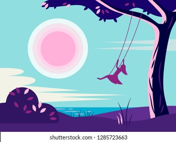 illustration of a girl riding on a swing in the morning on the river Bank