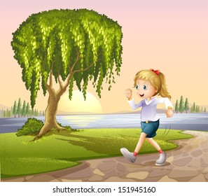 Illustration of a girl running at the street with a giant tree