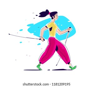 Illustration of the girl Scandinavian walking. The flat vector. Hiking in nature. The illustration is isolated on a white background. Scandinavian walking with sticks. Athletic way of life. Summer.