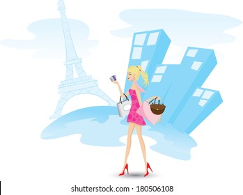 Illustration of a girl is shopping with credit cards in Paris. Lifestyle concept. Contains gradient and clipping mask.