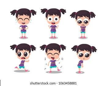 Illustration of girl showing different emotions