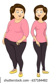 Illustration of a Girl Showing Weightloss Using a Before and After Comparison