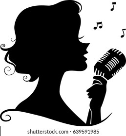 Illustration of a Girl Silhouette Holding a Retro Microphone Singing a Song