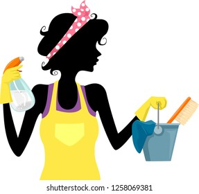 Illustration of a Girl Silhouette Wearing Head Band and Holding Bottle Spray and Bucket with Rag and Brush