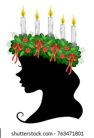 Illustration of a Girl Silhouette Wearing a Saint Lucia Crown for the Saint Lucia Feast