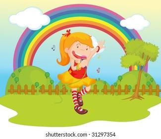 illustration of girl singing on backgound of rainbow