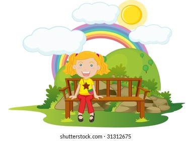 illustration of girl sitting on a bench