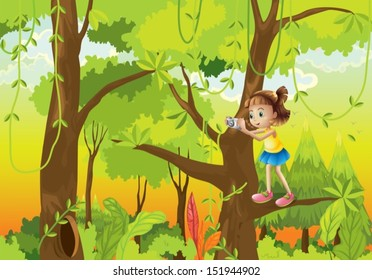 Illustration of a girl standing at the branch of a tree with a camera