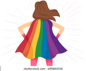 Illustration of a Girl Super Hero Showing Her Rainbow Color Cape