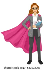 Illustration of a Girl Super Teacher Wearing Cape and Holding Story Books
