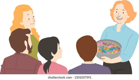 Illustration of a Girl Teacher Giving Out Candies in a Basket to a Group of Parents and Teachers on a Meeting