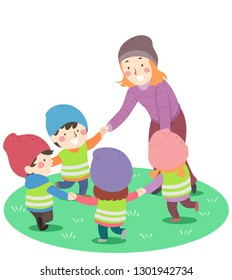 Illustration of a Girl Teacher and Kids Holding Hands in Circle Playing Outdoors in Nature