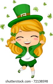 Illustration of a Girl Throwing Shamrocks in the Air
