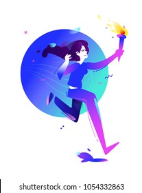 Illustration of a girl with a torch. Running girl. Vector flat illustration. Illustration for banner and print. Image is isolated on white background. Gradient. Business illustration. The startup.