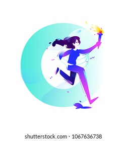 Illustration of a girl with a torch. Running girl. Vector flat illustration. Illustration for banner and print. Image is isolated on white background. Business illustration. The startup. Letter O.