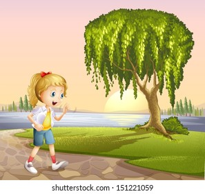 Illustration of a girl walking hurriedly