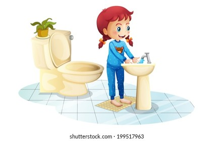 Illustration of a girl wearing a blue sleepwear washing her hands on a white background