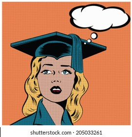Illustration of a girl wearing graduation hat in a pop art/comic style