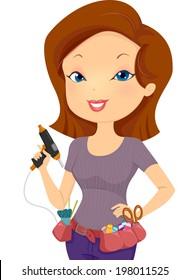 Illustration of a Girl Wearing a Utility Belt Holding a Glue Gun