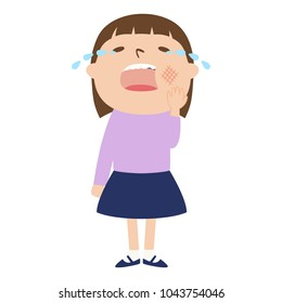Illustration of a girl who is crying due to a toothache pain. Cavities, also called tooth decay, are permanently damaged areas in the hard surface of teeth that develop into tiny openings or holes.