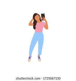 illustration of girl who takes selfie on the phone. Girl posing for the camera in fashionable clothes. Colorful flat vector drawing.