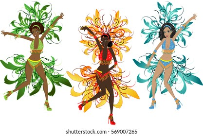 illustration girls with Brazilian style carnival costumes