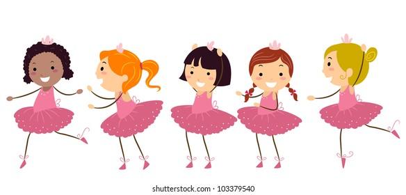 Illustration of Girls Doing Ballet