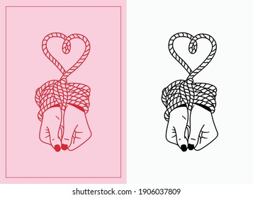 Illustration of a girl's hands tied together with a thick rope forming the shape of a heart. Tattoo, print, décor, aesthetic art style. Conceptual sketch about being trapped, bondage, in love.