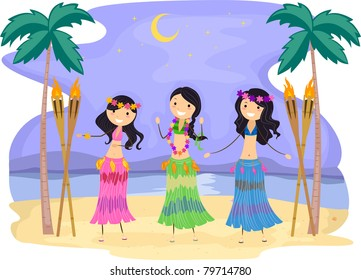 Illustration of Girls Performing a Hula Dance