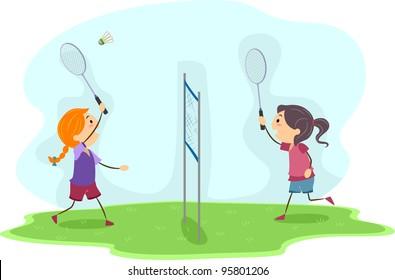 Illustration of Girls Playing Badminton