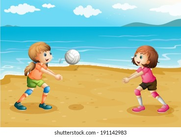 Illustration of the girls playing volleyball at the beach