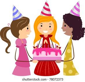 Illustration of Girls Presenting a Birthday Cake to the Celebrant