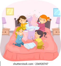 Illustration of Girls in a Slumber Party Having a Pillow Fight