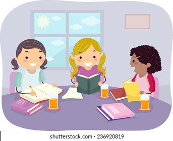 Illustration of Girls Studying Together in Their Home