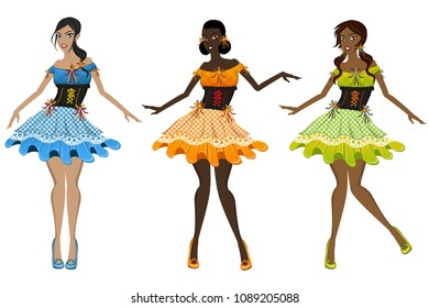 illustration girls with typical dresses from the brazilian juninas, and USA