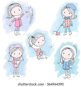 Illustration of girls walking outside in winter. The girl feeds a squirrel. The girl feeds sparrow. The girl walks with her puppy.The girls carries a kitten. The girl standing and catches a snowflake.
