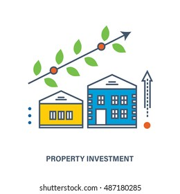 The illustration gives an idea of property investment to the real estate. It can be used in advertising, banners, commercial projects, brochures. Vector illustration