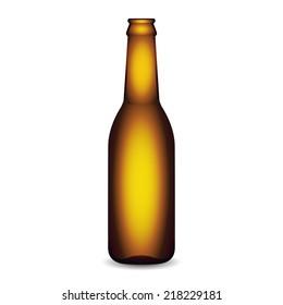 Illustration of Glass Beer Bottle On White Background Isolated.