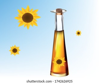 illustration of a glass bottle with sunflower oil, next to a sunflower flower, on a white - blue background
