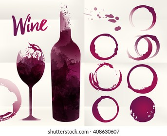 Illustration of glass and bottle wine background with spots. Wine stains set for your designs. Color red wine. Vector