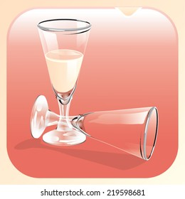 Illustration of a glass of champagne and an empty glass