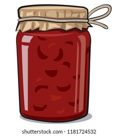 illustration of glass jar with berry jam