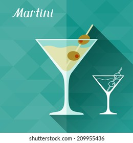 Illustration with glass of martini in flat design style.
