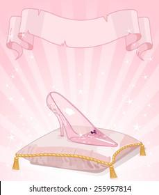 Illustration glass slipper on pink pillow