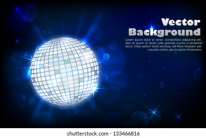 illustration of glittery disco ball on abstract background