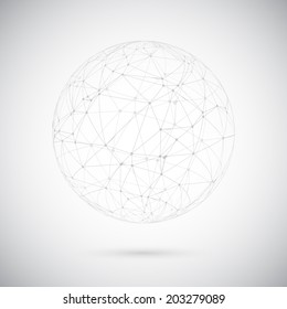 Illustration of Global Network Lines with Dots Connection Vector Background