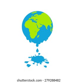 An illustration for global warming theme. Global warming. Melting earth, concept of global warming.